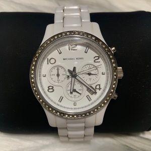 Michael Kors Glitz Runway White Ceramic Watch